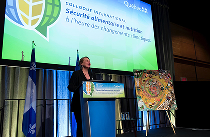 Minister of International Relations and La Francophonie, Christine St-Pierre at the International Symposium on Food Security and Nutrition in the Age of Climate Change.