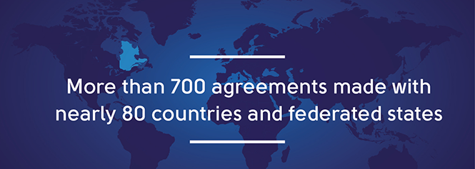 more than 700 agreements made with nearly 80 countries and federates states