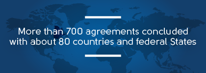 More than 700 agreements concluded with about 80 countries and federal states