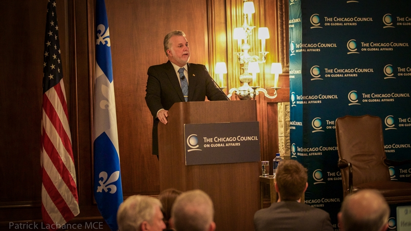 Premier Couillard in front of members of The Chicago Council on Global Affairs