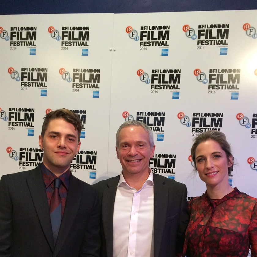 Agent-General Stéphane Paquet with Xavier Dolan and Ms Nancy Grant at the London Premier of Mommy