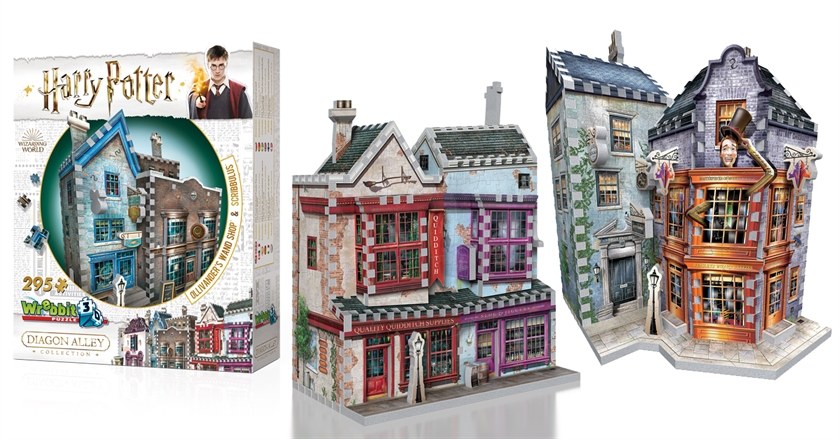 Photo des 3 puzzles WREBBIT 3D à gagner de la rue Dragon Alley de l'univers Harry Potter